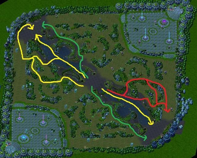 Hướng đi Gank của cả 2 team. Xanh là hướng bạn mạnh, vàng là đường cơ bản, đỏ là khi bạn yếu.