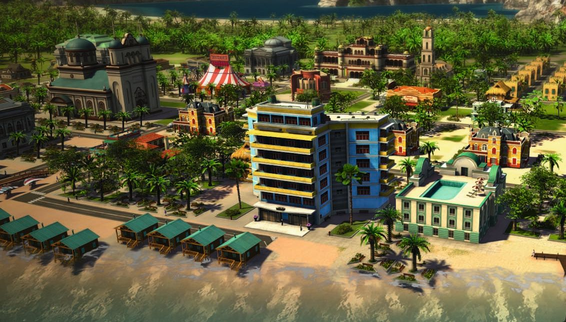 Một cảnh thành phố trong game Tropico 5