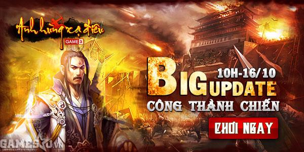Theo định kỳ, ngày 16/10 tới đây, Anh Hùng Xạ Điêu sẽ tiến hành Big Update  lớn nhất trong năm. Với cái tên Công Thành Chiến chắc chắc đây sẽ là bản  cập ...
