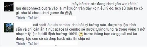 Tâm sự trên facebook của game thủ.