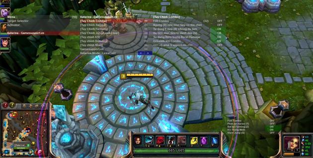 Giao diện tùy chỉnh chức năng của phần mềm trong game.