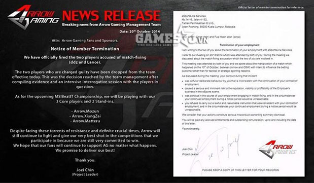 Văn bản hủy hợp đồng của Arrow.