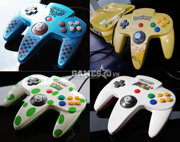 Tay cầm Nintendo 64 ăn theo các nhân vật tạo nên thành công của hãng: Yoshi, Kirby, Super Mario, Pikachu ...