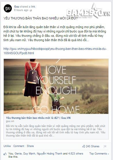 Bài viết với cùng chủ đề đã nhận được hàng nghìn lượt like, share trên Guu.vn