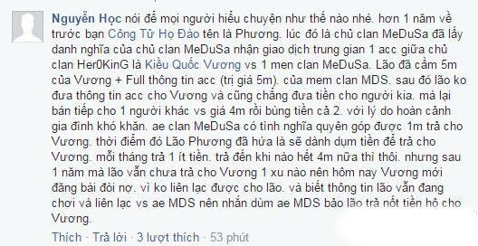 """Nguyễn Học cũng hỗ trợ Vương """"bóc phốt"""" cựu chủ clan MEDUSA."""