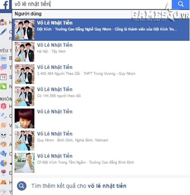 """Chỉ cần gõ Võ Lê Nhật Tiến, hàng chục facebook có tên và hình ảnh của Nhật Tiến """"thật"""" hiện ra"""
