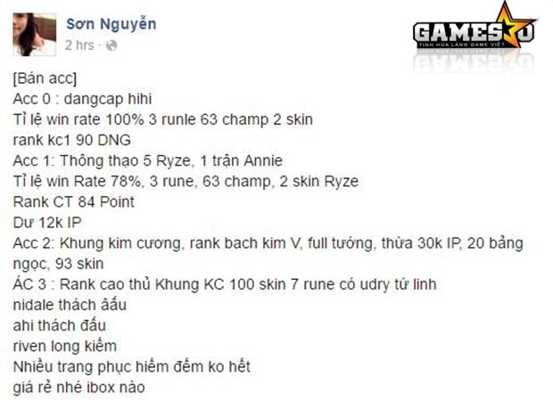 Sơn Nguyễn rao bán tài khoản trên Facebook.