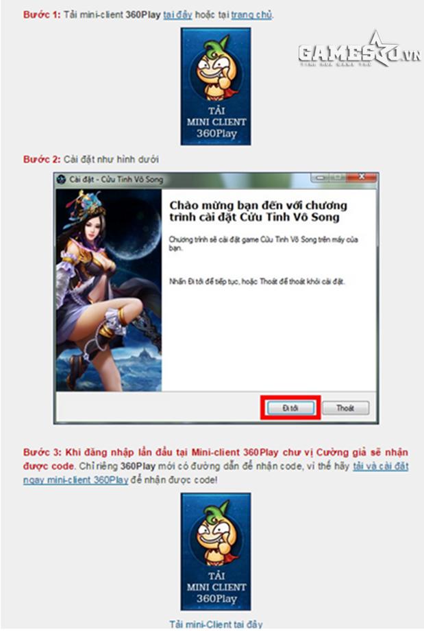 Hướng dẫn cài đặt mini-client 360Play để nhận code khủng của Cửu Tinh Vô  Song