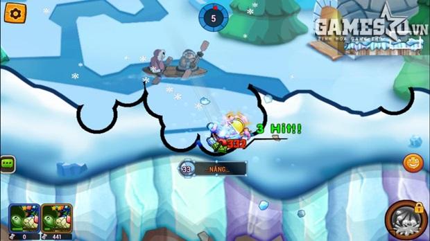 Khi địa hình xuất hiện gió, lốc, người chơi sẽ gặp khó khăn để canh chính xác góc bắn