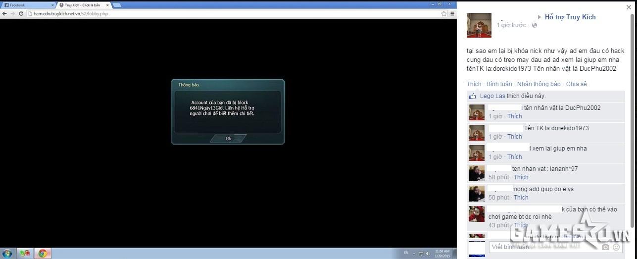 Game thủ bị khóa tài khoản cầu cứu admin diễn đàn Hỗ Trợ Truy Kích
