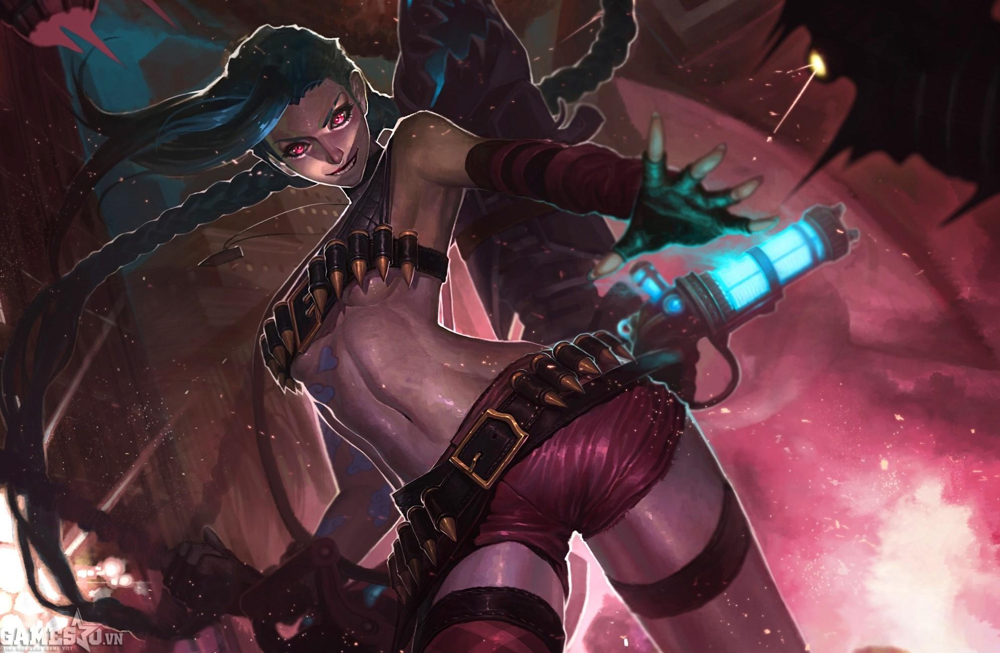 Jinx – Thật dễ dàng để cô nàng này kiếm được các điểm hạ gục bằng chiêu  cuối để có thể quay trở lại giao tranh mạnh mẽ. Nội tại của Jinx là quá mạnh !