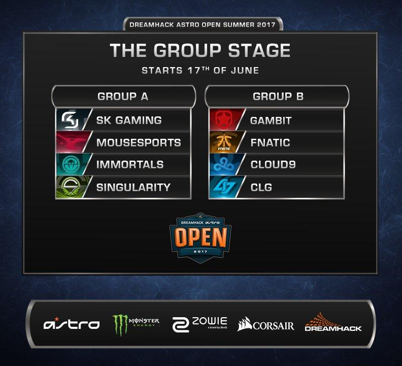 Kết quả bốc thăm chia bảng đấu tại DreamHack Summer 2017