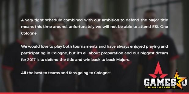 Thông báo từ chối tham gia thi đấu  tại ESL Cologne được Astralis phát ra ngày 03/4