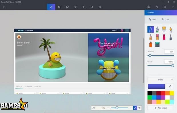 """Giao diện Paint 3D, phiên bản nâng cấp của """"người anh"""" đã 32 năm tuổi"""