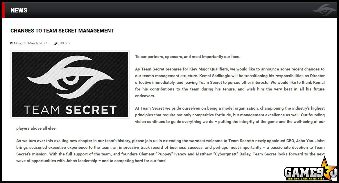 Thông báo thay thế quản lý của Secret được đăng tải trên trang chủ