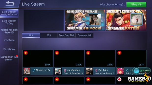 Moonton đã đưa vào tính năng livestream bằng nhiều nguồn trong MLBB