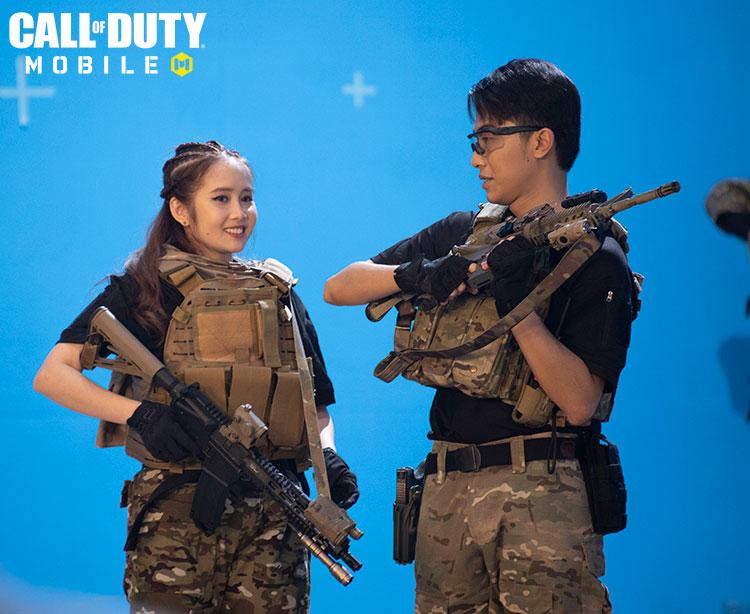 Những hình ảnh của cặp vợ chồng trai tài gái sắc trong các phân đoạn quay quảng bá Call of Duty: Mobile VN