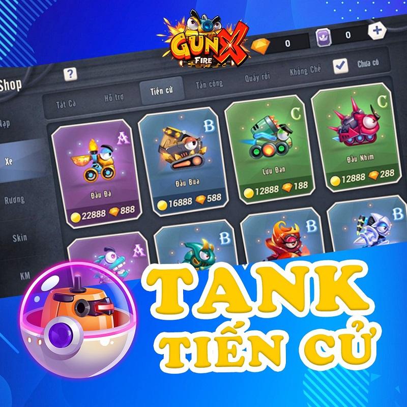 """Tank Tiến cử có thể nói là hệ thống tank đặc biệt """"độc quyền"""" bởi GunX: Fire khi bên cạnh những tính năng cơ bản còn ẩn chứa thêm một số tính năng phụ"""