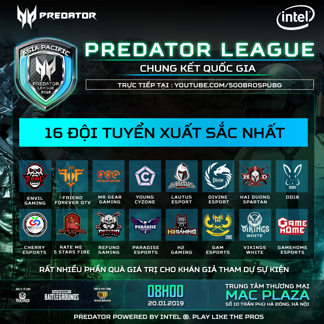 16 đội tuyển xuất sắc nhất tranh tài tại LAN Final Predator League 2019