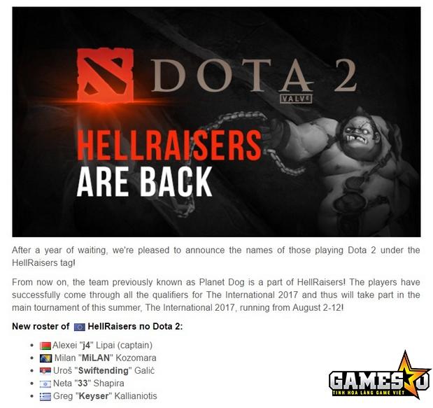 HellRaisers đã quay trở lại Dota 2 chuyên nghiệp với việc mua lại toàn bộ đội hình Planet Dog