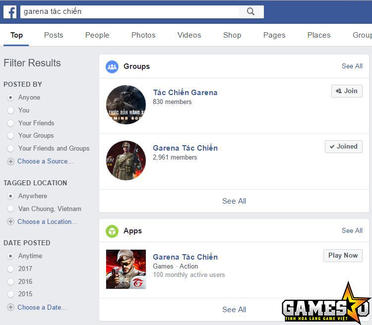 """Garena Tác Chiến """"sạch bóng"""" khi tìm kiếm trên Facebook"""