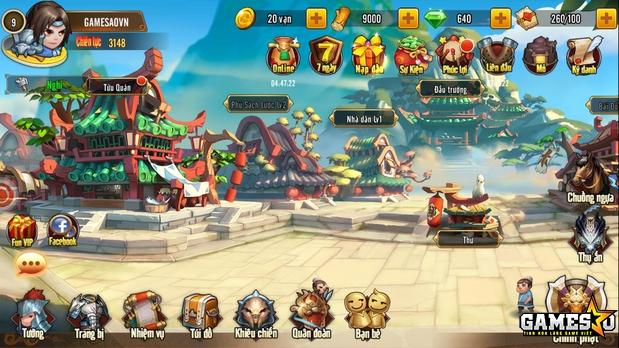 Giao diện chính trong game Tam Quốc GO