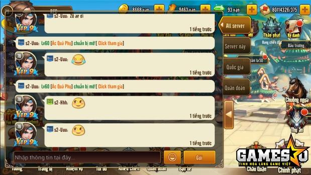 Bảng chat, trao đổi thông tin giữa những người chơi ở các server khác nhau trong Tam Quốc GO