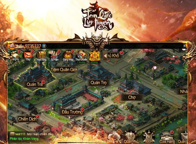 Xây dựng thành trì và điều binh khiển tướng theo thời gian thực trong Tam Quốc Liệt Truyện.