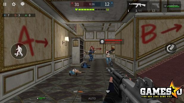 Thanh máu của cả địch lẫn ta được hiển thị khi nhân vật chĩa súng về cùng hướng