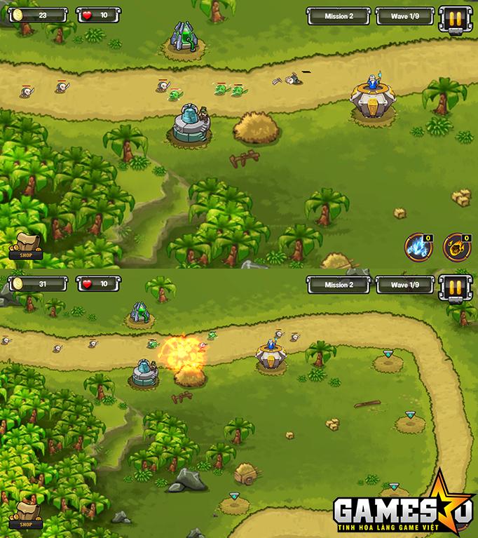 Hai góc nhìn gần gần và rộng nhất trong màn chơi của Tower Defense: Kingdom Wars