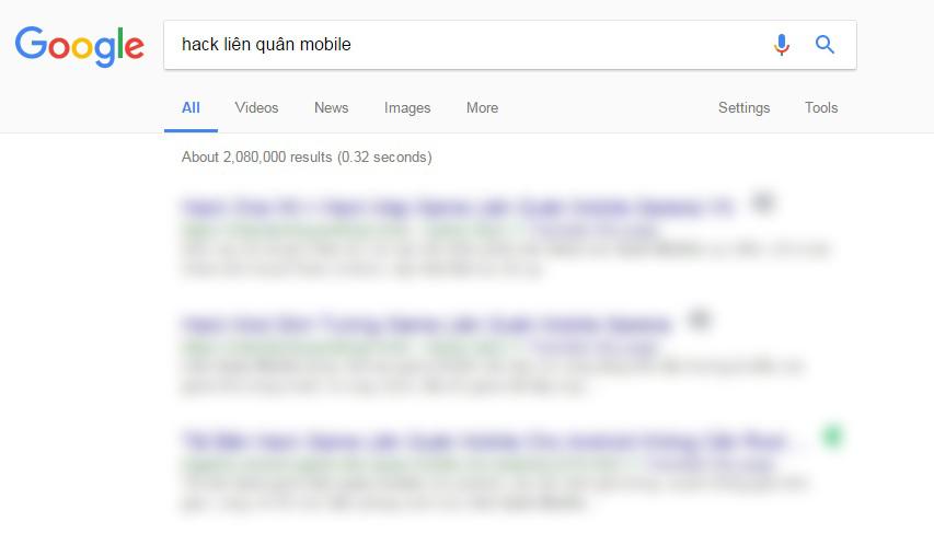 """Hơn hai triệu kết quả được tìm thấy khi tra từ khóa """"hack liên quân mobile"""" trên trang tìm kiếm Google"""