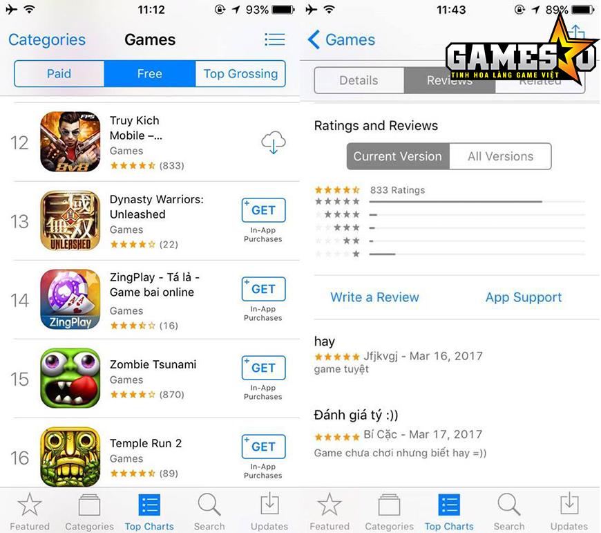 """Trong khi sản phẩm chủ lực của VTC Mobile trong năm 2017, Truy Kích Mobile, vẫn đang thể hiện được độ """"hot"""" khi là tựa game có thứ hạng cao nhất trên BXH Game Miễn Phí của App Store"""