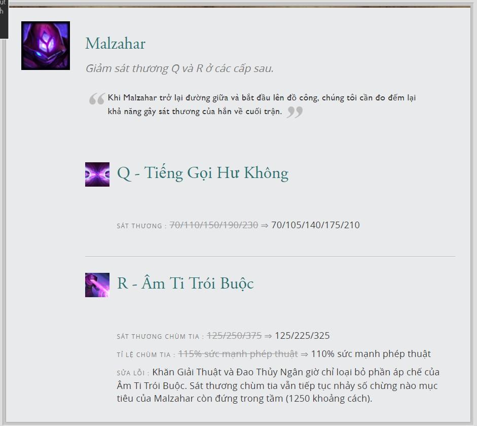Những thay đổi của Malzahar ở bản cập nhật 7.12