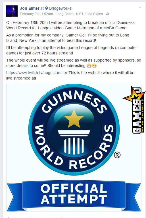 """Eimer đã đăng tải thông báo rộng rãi trên trang Facebook cá nhân khi đã được Guiness xác nhận cho phép tham dự chinh phục Kỷ lục """"người chơi điện tử liên tục lâu nhất cho một tựa game MOBA."""""""