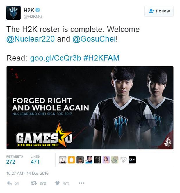 H2K thông báo đã bổ sung thành công Nuclear và Chei vào đội hình chính thức