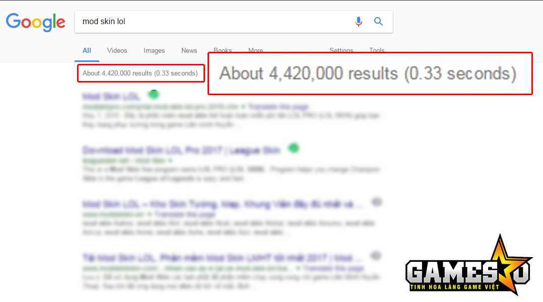 """Hơn 4,4 triệu kết quả hiển thị sau 0.33 giây khi tra từ khóa """"mod skin lol"""" trên trang tìm kiếm Google"""