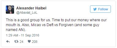 """Alexander Haibel, HLV của INTZ e-Sports, bình luận: """"Đây là một bảng đấu tốt cho chúng tôi. Đến lúc đặt tiền cho chúng tôi rồi đấy. Ngoài ra, Micao sẽ đối đầu với Deft và FORG1VEN (cả anh chàng nào đó tên AN)."""""""