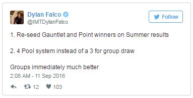 Dylan Falco, HLV của Immortals, cho rằng: 1. Nên tráo đổi vị trí hạt giống giữa các đội giành chiến thắng tại Vòng loại Khu vực với những đội có điểm CP cao nhất./. 2. Nên có 4 nhóm hạt giống ở vòng bảng thay vì 3 như hiện tại…và như vậy bốc thăm vòng bảng sẽ hay hơn nhiều.