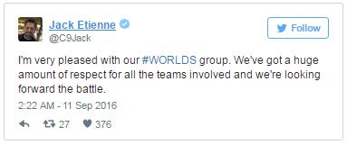 """Jack Etienne, CEO kiêm chủ sở hữu của Cloud9, nói: """"Tôi rất hài lòng với bảng đấu tại CKTG của chúng tôi. Chúng tôi dành nhiều sự tôn trọng cho tất cả các đội tuyển tham dự và đang hướng tới trận chiến."""""""