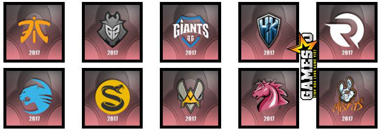 LCS Châu Âu: Fnatic, G2 Esports, Giants Gaming, H2k-Gaming, Origen, Team ROCCAT, Splyce, Team Vitality, Unicorns of Love, Misfits