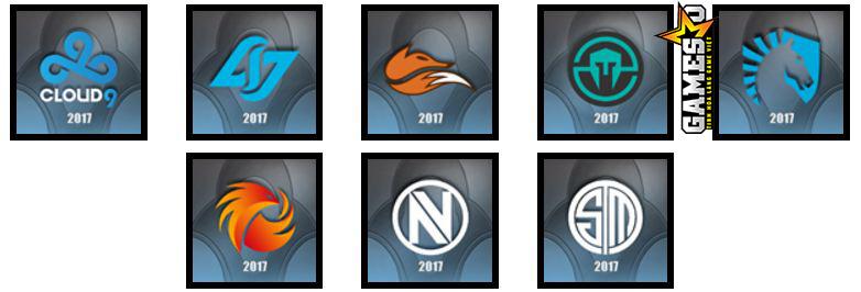 LCS Bắc Mỹ: Cloud9, Counter Logic Gaming, Echo Fox, Immortals, Team Liquid, Phoenix1, Team Envy, Team SoloMid