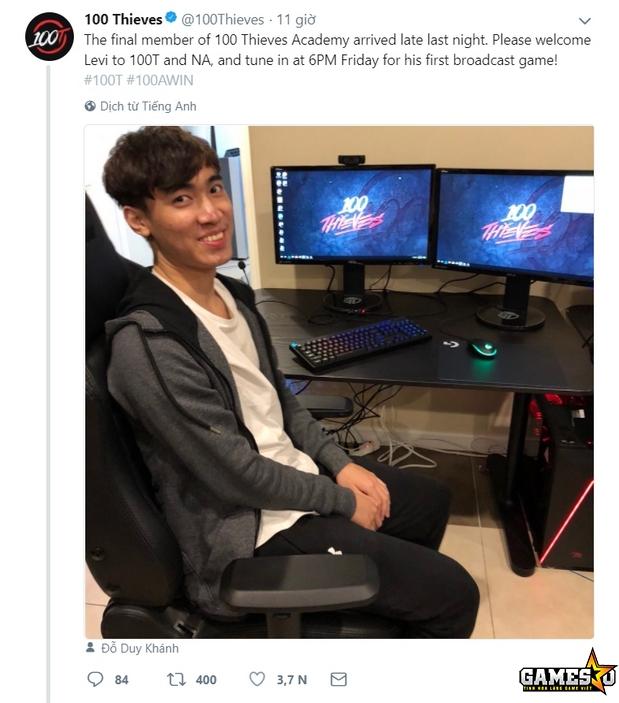 """100T cũng đã xác nhận Levi sẽ thế chỗ Thanh """"Kitzuo"""" Dat Nguyen Tran, đi  rừng của 100T Academy trong bốn tuần thi đấu đã qua tại giải Academy League  Bắc Mỹ ..."""