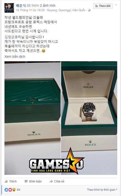 Bang tặng cho HLV kkOma chiếc đồng hồ Rolex Rolex 116613LN có giá gần 270 triệu đồng