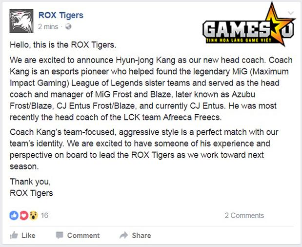ROX thông báo họ đã ký hợp đồng với cựu HLV của CJ Entus và Afreeca Freecs