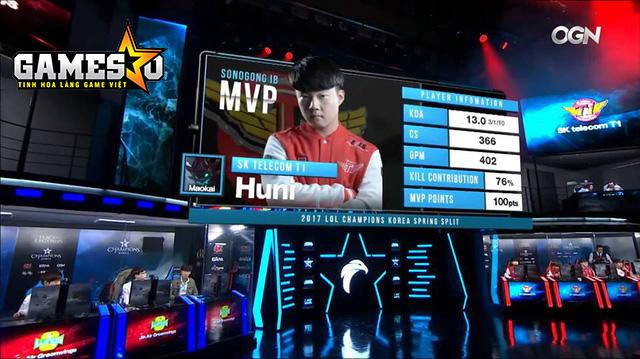 Huni giành danh hiệu MVP ở Ván 1 trong trận đấu với Jin Air khi lựa chọn Maokai