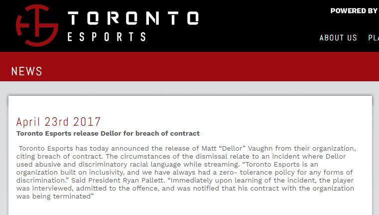Thông báo đuổi việc Dellor được Toronto Esports đăng tải trên trang chủ vào hôm 23/4