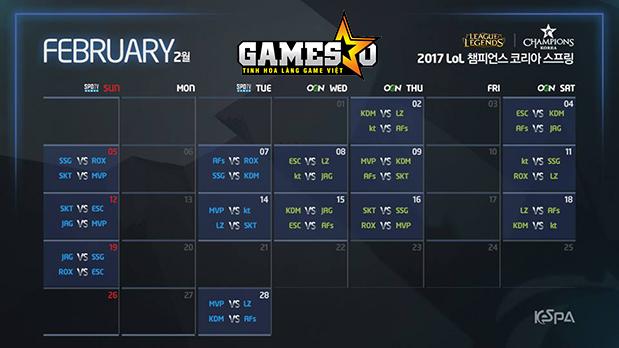 Lịch thi đấu vòng bảng LCK Mùa Xuân 2017 ở Tháng Hai