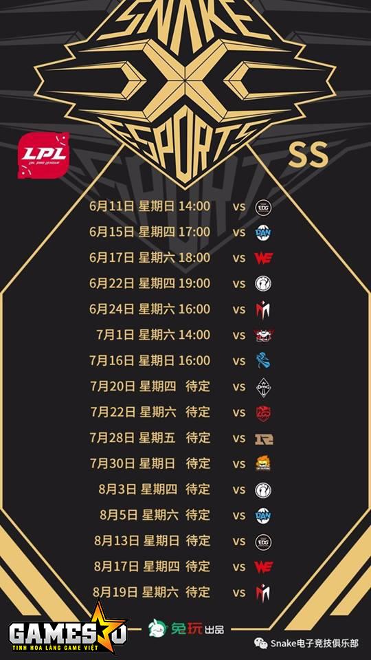 Lịch thi đấu của Snake tại vòng bảng LPL Mùa Hè 2017 (giờ Việt Nam sớm hơn ba tiếng so với trên hình)