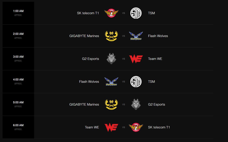 Lịch thi đấu Ngày 2 vòng bảng MSI 2017