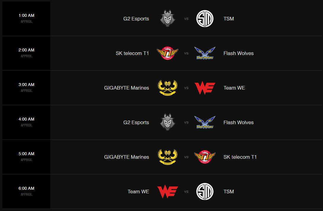 Lịch thi đấu Ngày 3 vòng bảng MSI 2017